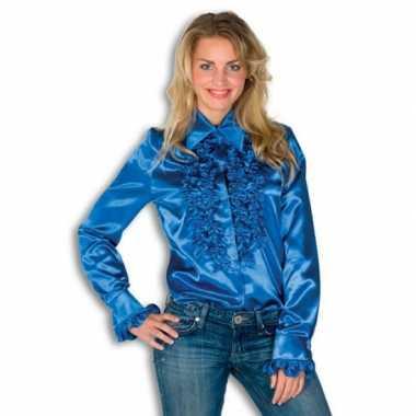 Overhemd blauw met rouches dames