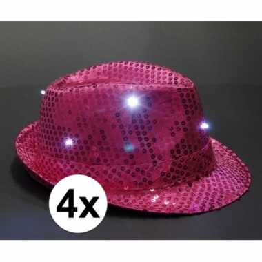 Pailletten trilby hoeden roze led light 4 stuks