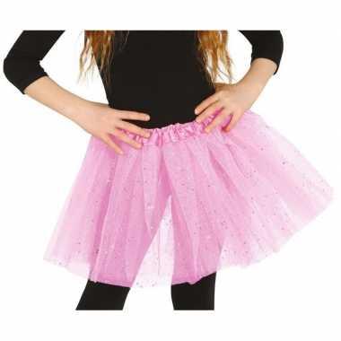 Petticoat/tutu verkleed rokje lichtroze glitters voor meisjes