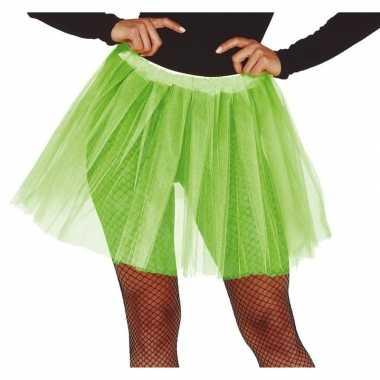 Petticoat/tutu verkleed rokje lime groen 40 cm voor dames