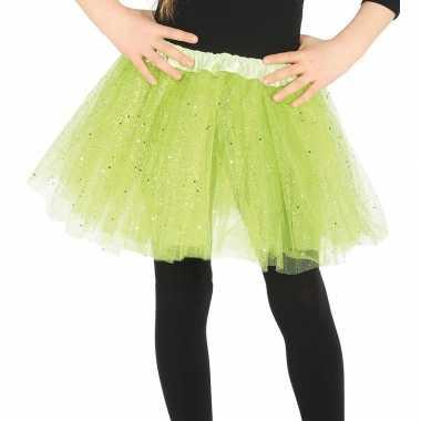 Petticoat/tutu verkleed rokje lime groen glitters voor meisjes