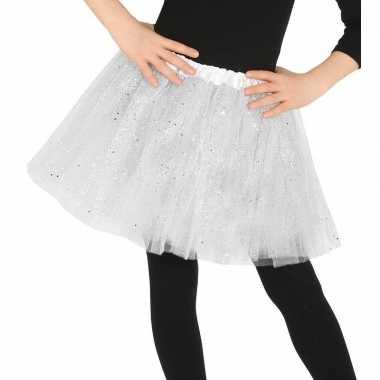 Petticoat/tutu verkleed rokje wit glitters 31 cm voor meisjes
