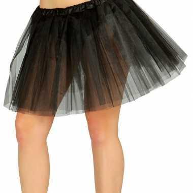 Petticoat/tutu verkleed rokje zwart 40 cm voor dames