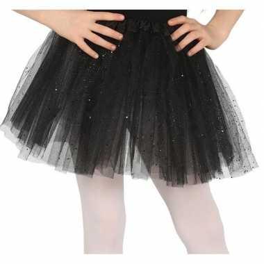 Petticoat/tutu verkleed rokje zwart glitters 31 cm voor meisjes