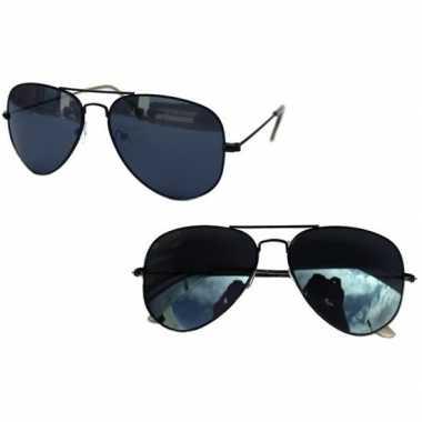 Pilotenbril zwart met donkere glazen voor volwassenen