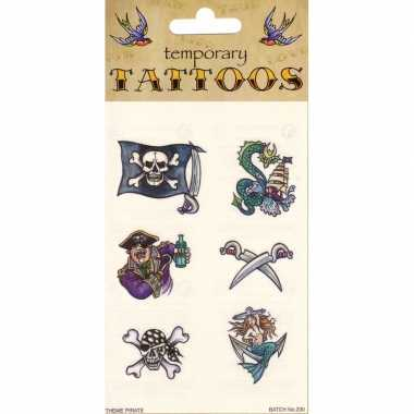 Piraat plak tattoos 6 stuks