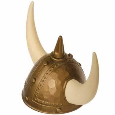 Plastic viking helm goud met nep spijkers