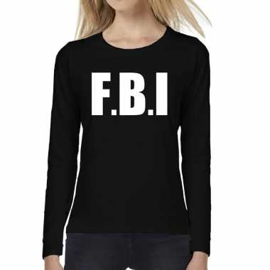 Politie fbi tekst t shirt long sleeve zwart voor dames