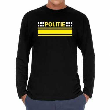 Politie verkleed t shirt long sleeve zwart voor heren