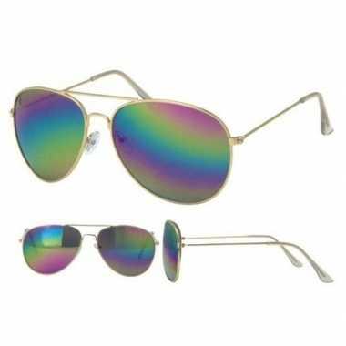 Politiebril goud met olie/spiegel glazenvoor volwassenen