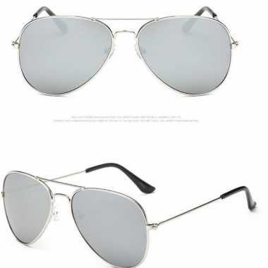 Politiebril zilver met lichte glazen voor volwassenen