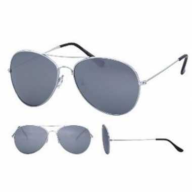 Politiebril zilver met spiegel glazen voor volwassenen