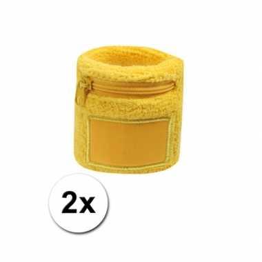 Polsbandje geel met rits vakje 2x