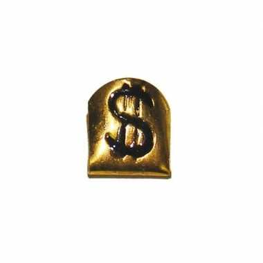 Pooier tand goud met dollarteken