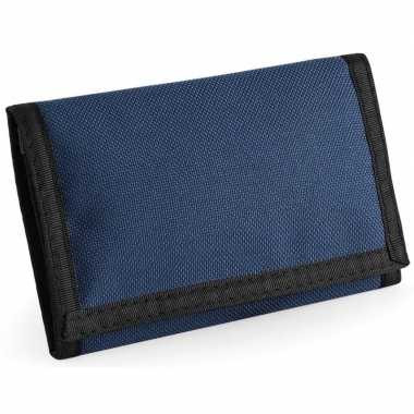 Portemonnee/portefeuille navy blauw 13 cm