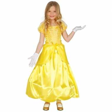 Prinses verkleed jurk kostuum geel voor meisjes