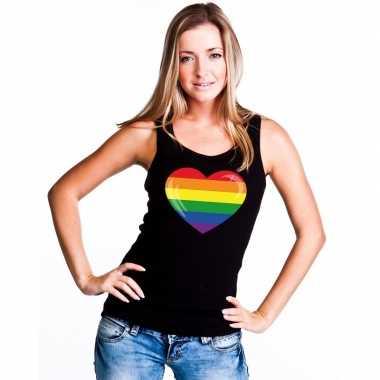 Regenboog vlag in hart singlet shirt/ tanktop zwart dames