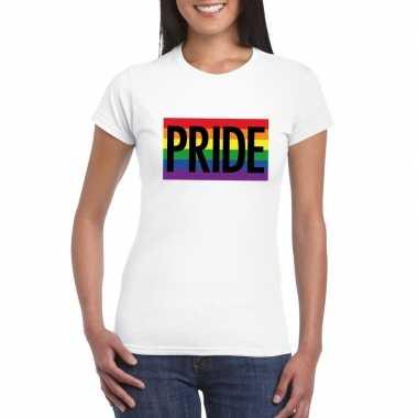 Regenboog vlag pride shirt wit dames