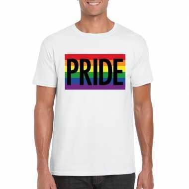 Regenboog vlag pride shirt wit heren