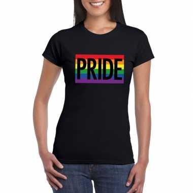 Regenboog vlag pride shirt zwart dames