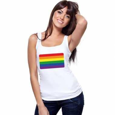 Regenboog vlag singlet shirt/ tanktop wit dames