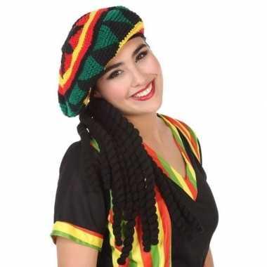 Reggae verkleed muts met dreadlocks voor volwassenen