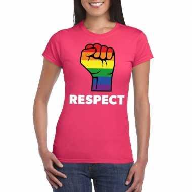 Respect lgbt shirt met regenboog vuist roze dames