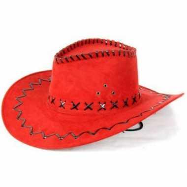 Rode cowboyhoed met zwarte stiksels