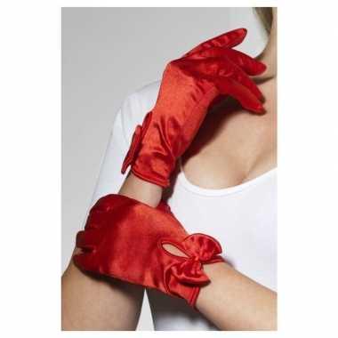 Rode korte verkleed handschoenen voor dames