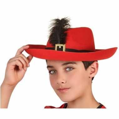 Rode musketier verkleed hoed voor kinderen