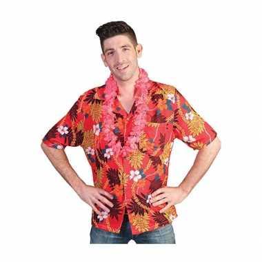 Rode shirt met tropische print