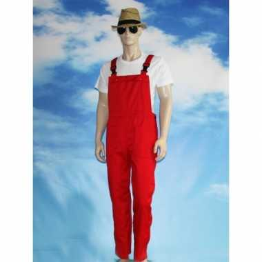 Rode tuinbroek overall voor volwassenen