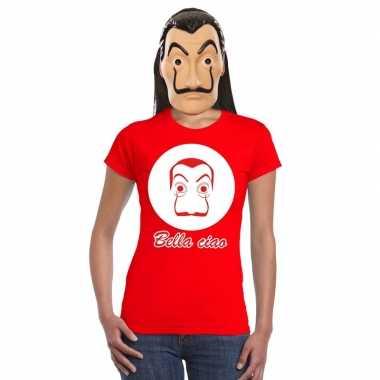 Rood salvador dali t shirt met la casa de papel masker dames