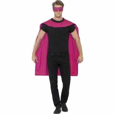 Roze cape met oogmasker voor volwassenen