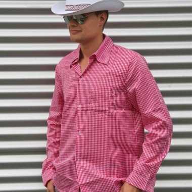 Roze cowboy overhemd met ruitjes
