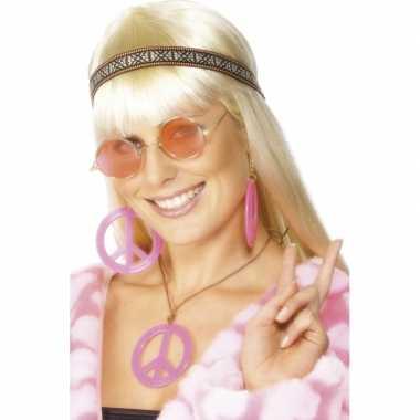 Roze hippie peace sieraden pakket