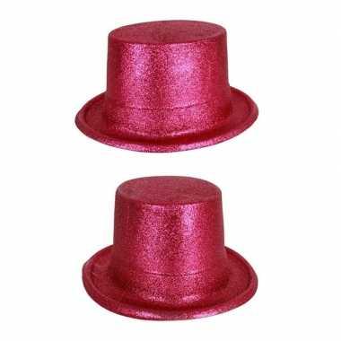 Roze hoge hoed glitters voor volwassenen