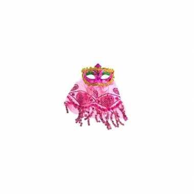 Roze oogmasker met glitters
