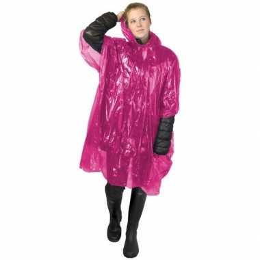 Roze poncho met capuchon voor volwassenen