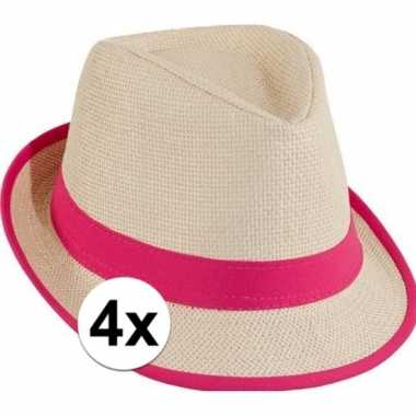 Roze strandhoedjes 4 stuks