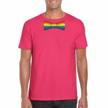 Roze t shirt met regenboog vlag strikje heren