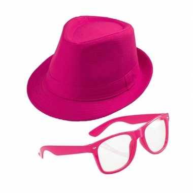 Roze verkleedset trilby hoed met zonnebril