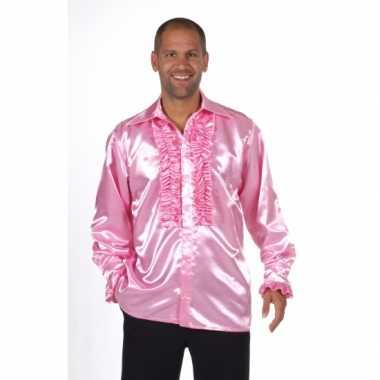 Satijnen roze blouse met rouches