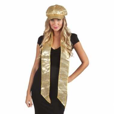 Sjaal met gouden pailletten