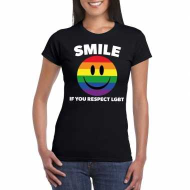 Smile if you respect lgbt emoticon shirt zwart dames