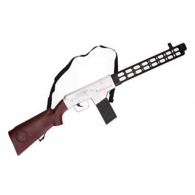 Soldaten speelgoed verkleed geweer bruin met geluid 76 cm