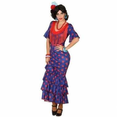 Spaanse flamencodanseres jurk blauw verkleed kostuum voor dames