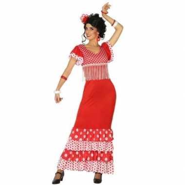 Spaanse flamencodanseres jurk rood verkleed kostuum voor dames