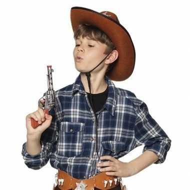 Speelgoed cowboy revolver/pistool zilver 20 cm