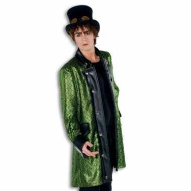 Steampunk thema kleding groene jas